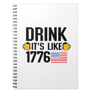 Caderno Espiral Bebida é como bandeira americana o partido do 4 de