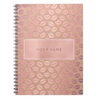 Caderno Espiral Beijo metálico do pó retangular do ouro do rosa do