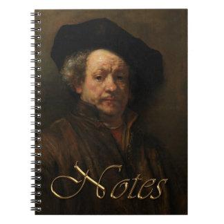 Caderno Espiral Belas artes do retrato de auto de Rembrandt Van