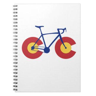 Caderno Espiral Bicicleta da bandeira de Colorado