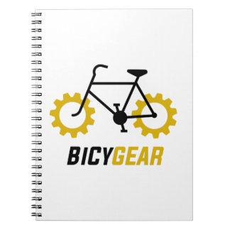 Caderno Espiral Bicicleta preta com as rodas de engrenagem