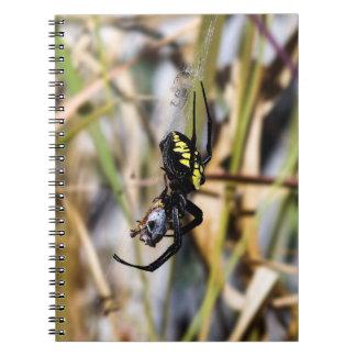 Caderno Espiral Bloco de notas preto & amarelo da aranha de jardim