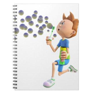 Caderno Espiral Bolhas de sopro do menino dos desenhos animados
