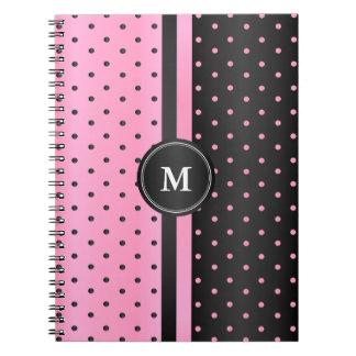 Caderno Espiral Bolinhas cor-de-rosa e pretas