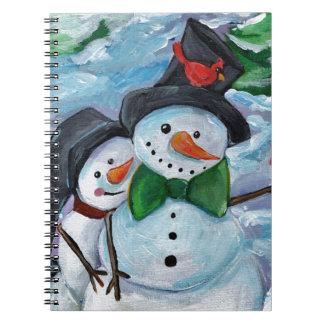 Caderno Espiral Bonecos de neve de visita cardinais