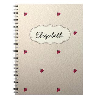 Caderno Espiral Bonitos adorável, joaninhas,
