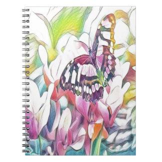 Caderno Espiral borboleta floral