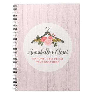 Caderno Espiral Boutique cor-de-rosa floral da forma do armário do