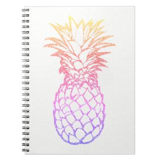 Caderno espiral branco do abacaxi feminino do