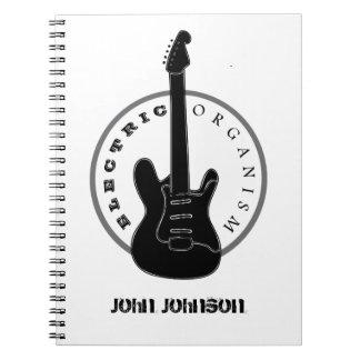 Caderno Espiral Branco elétrico do preto da música rock da