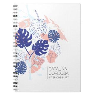 Caderno Espiral Branco tropical moderno do teste padrão da folha