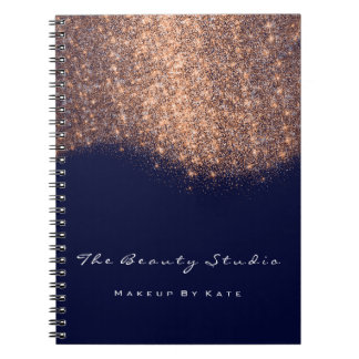 Caderno Espiral Brilho azul do marinho do cobre do maquilhador dos