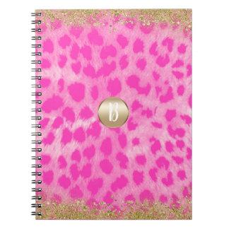 Caderno Espiral Brilho cor-de-rosa do ouro do impressão da chita