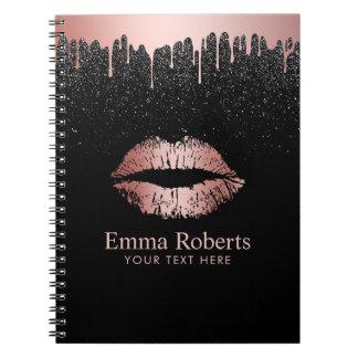 Caderno Espiral Brilho cor-de-rosa do preto dos lábios do ouro do