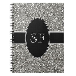 Caderno Espiral Brilho do falso e monograma preto