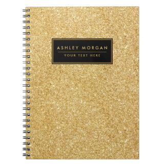 Caderno Espiral Brilho elegante do ouro do falso