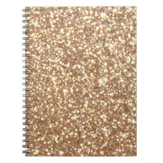 Caderno Espiral Brilho metálico do ouro cor-de-rosa do cobre