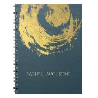 Caderno Espiral Brushstrokes do símbolo do ZEN elegante do azul &