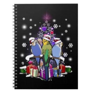 Caderno Espiral Budgerigars com presente e flocos de neve do Natal
