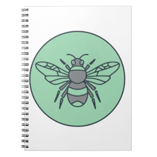 Caderno Espiral Bumble linha do círculo da abelha a mono