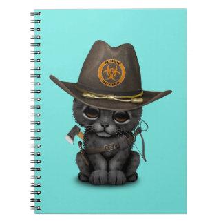 Caderno Espiral Caçador bonito do zombi de Cub da pantera preta