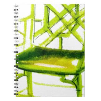 Caderno Espiral cadeira do chinoiserie para o cartão do lugar