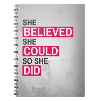 Caderno Espiral Caderno: Acreditou que poderia assim que fez