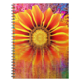Caderno Espiral Caderno:  Girassol com explosão de cor
