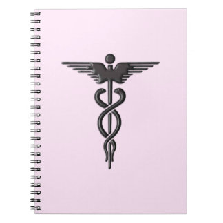 Caderno Espiral Caduceus médico no rosa