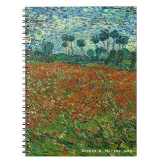 Caderno Espiral Campo de Van Gogh com as papoilas personalizadas