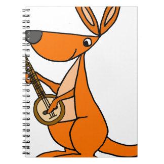 Caderno Espiral Canguru bonito que joga desenhos animados do banjo