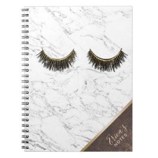 Caderno Espiral Canto de cobre de mármore branco na moda da