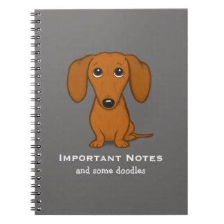 Caderno Espiral Cão bonito de cabelos curtos dos desenhos animados