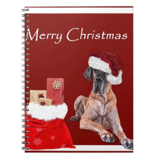Caderno Espiral Cão great dane do Natal