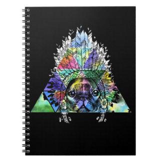 Caderno Espiral Cão indiano do Pug do hipster