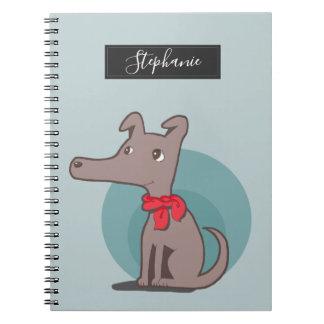 Caderno Espiral Cão retro com um lenço vermelho