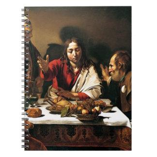 Caderno Espiral Caravaggio - ceia em Emmaus - pintura clássica