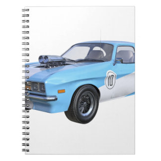 Caderno Espiral carro do músculo dos anos 70 em azul e em branco