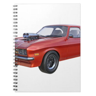 Caderno Espiral carro vermelho do músculo dos anos 70