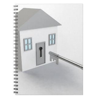 Caderno Espiral Casa chave, mediador imobiliário, vendendo