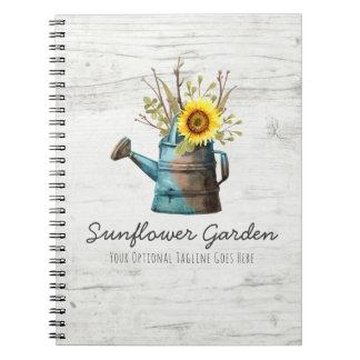 Caderno Espiral Casa de campo de madeira floral & rústica do
