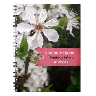 Caderno Espiral Casamento branco bonito da flor