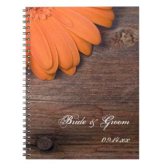 Caderno Espiral Casamento de madeira do celeiro rústico do país da