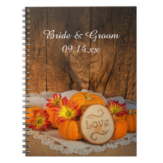 Caderno Espiral Casamento outono rústico das abóboras