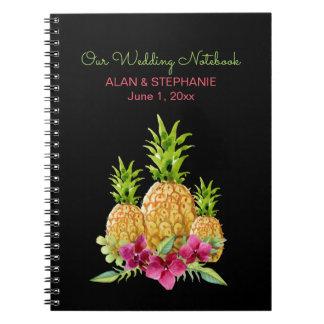 Caderno Espiral Casamento tropical das samambaias das orquídeas