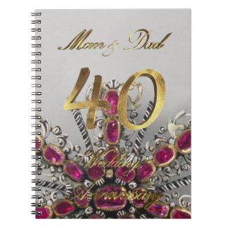 Caderno Espiral Casamento Wedding do rubi de Aniversary dos pais