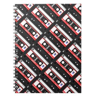 Caderno Espiral Cassete de banda magnética retro do anos 80