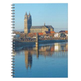 Caderno Espiral Catedral de Magdeburgo com rio Elbe 01
