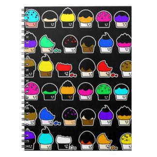 Caderno Espiral Cavalcade do cupcake - teste padrão de repetição