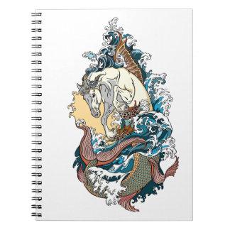 Caderno Espiral cavalo marinho mitológico